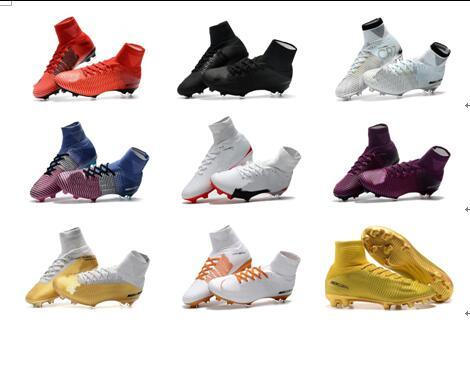 2018 mens soccer cleats Mercurial Superfly V Ronalro FG indoor soccer shoes kids football boots cr7 boys neymar boots Rising Fast Pack Blue