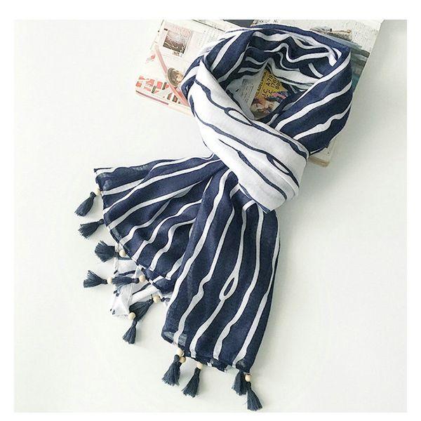 Guttavalli New Women Stripes Tassels Long Shawl Fashion Cotton White Blue Chevron Printing Scarf Female Geometric Charm Wraps