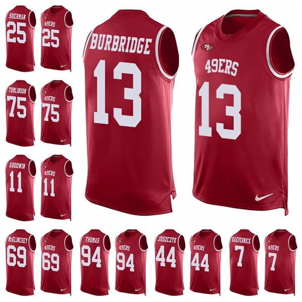 new product 545f8 210f0 2018 San Francisco Limited Football Jersey 49er Red Player Name & Number  Tank Top 10 Jimmy Garoppolo 16 Joe Montana 25 Richard Sherman From ...