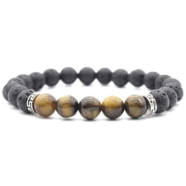 Valentine's Gift Gemstone Bracelet 7 Chakra 8mm Volcanic Rock Bracelet Yoga Reiki Prayer Beads Lucky Bracelet Stretch Bangle Jewelry G846F