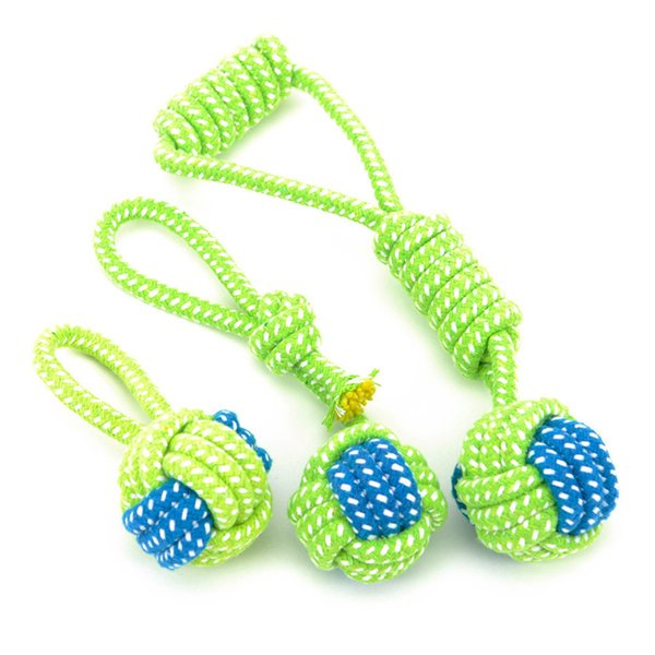 Transer Pet Supply Dog Toys Dogs Chew Teeth Clean Outdoor Traning Fun Playing Green Rope Ball Toy For Large Small Dog Cat