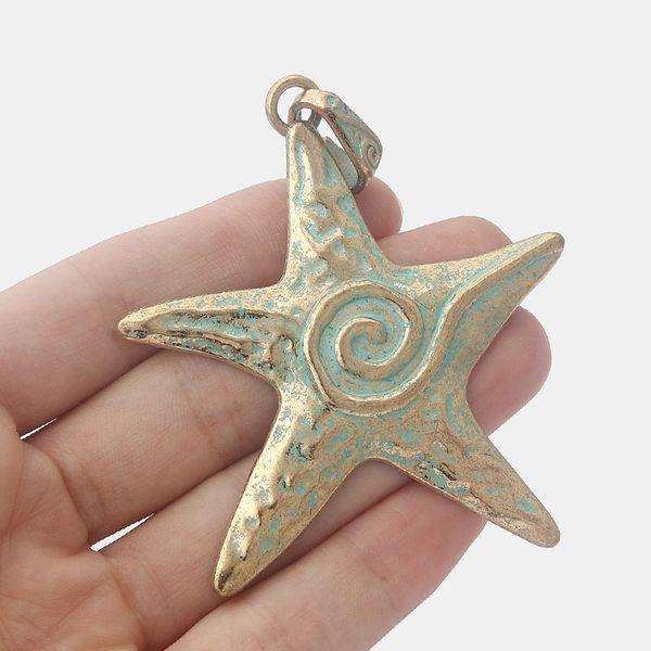 5 unids Grande de Oro Antiguo Verdigris Patina Estrella de Mar Sprial Colgantes de Estrellas de Mar para La Joyería Que Hace Resultados 73x67mm