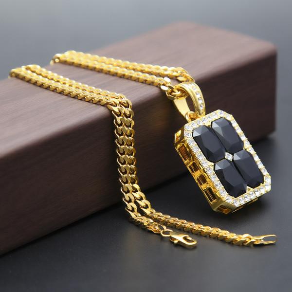 Mens quatre rouge / bleu / noir / vert / carré pendentif rubis collier en or plaqué argent chaîne 5mm / 30 pouces carrés connectés bout à bout Style Fashion J