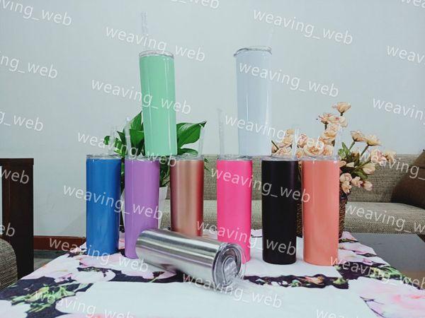 Vaso delgado de 20 oz Vaso con aislamiento al vacío Vasos de cerveza de acero inoxidable con tapas y pajitas de colores dulces.