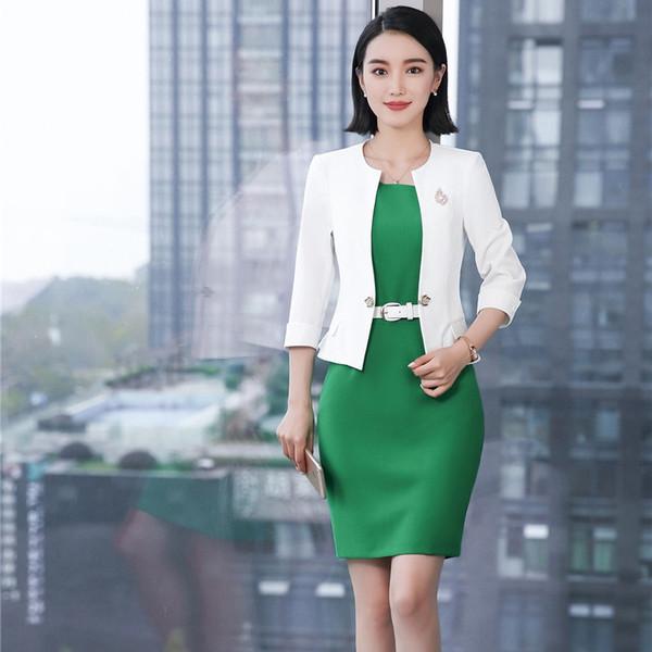 Großhandel Neue Mode 2018 Frühling Sommer Blazer Mit Jacken Und Kleid Für Frauen Formale Arbeitskleidung Damen Büro Kleider Sets Weiß Von Beke, $60.19