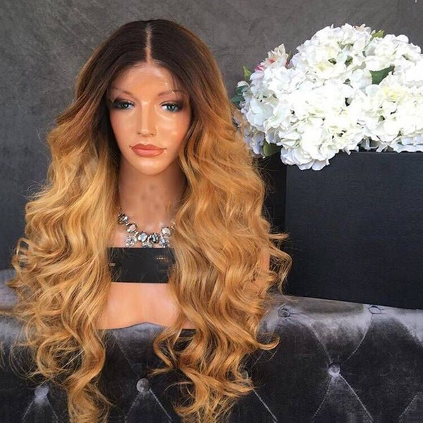Long three tone Ombre Wig Glueless brown/ Blonde Lace Front Wig With Dark Roots 180% Density Heat Resistant Synthetic Wigs For Black Women