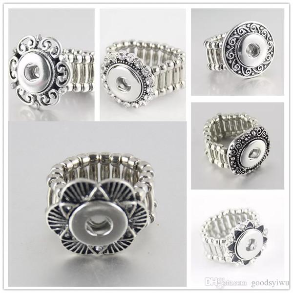 Sıcak satış Noosa kristal Zarif Yuvarlak Metal snap düğmesi yüzükler trendy esnek fit 12 MM yapış düğmeler DIY parçaları toptan kadın R005