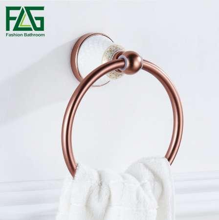 FLG Towel Holder Ring Rose Gold Finished Space Aluminum With Ceramics Towel Ring Rack Bathroom Accessories