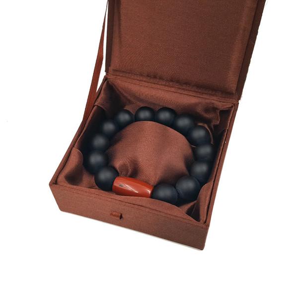 Naturstein Matte Black Onyx 16mm Runde Perlen Red Jaspers Männer oder Frauen Armband 9