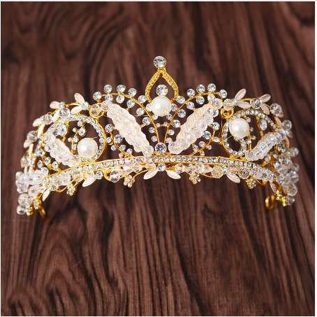 Gold Luxury Beauty Vintage Pearl And Rhinestone Tiara Crystal Beads Wedding Prom Crown Bridal Hair Jewelry For Women