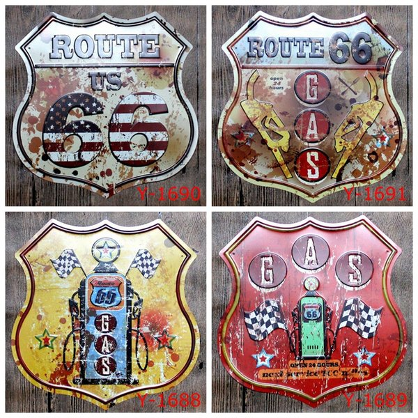 Wholesale ROUTE 66 GAS Metal Tin Signs 16*30cm Luxury Home Decor Posters Arts and Crafts Bedroom Wall Decorations Art Painting supplies