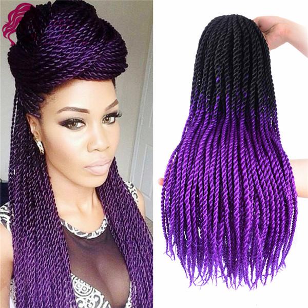 Ombre Senegalese Twist Crochet Hair 24inch 5pcs Fiber Senegalese Twist Hair Ombre Braiding Hair Extensions (Black/purple) SASSY GIRL