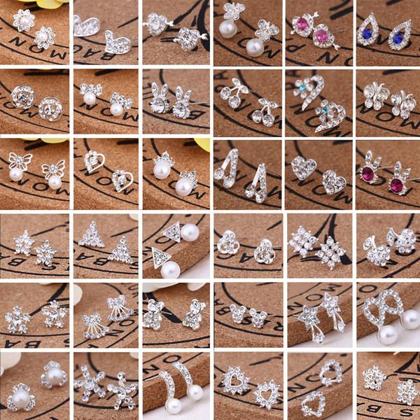 top popular Hot Wholesale Jewelry Best Friends White Gold Plated Earings Big Diamond Earrings for Women White Zircon Earrings 300pairs Lot, 45 styles 2019