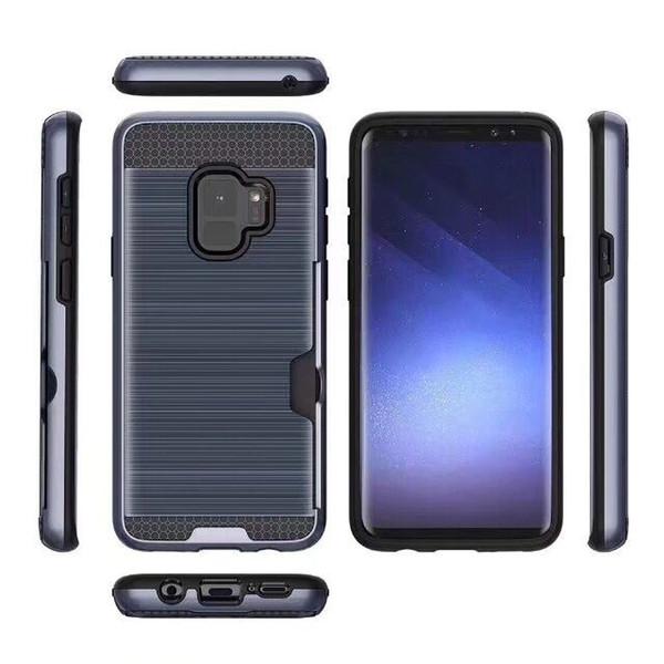 Per Samsung S6 S7 Edge Armatura spazzolata Hybrid Caso PC TPU Hard Cover Antiurto Titolare della carta del telefono per Samsung S8 S9 Plus NOTE8