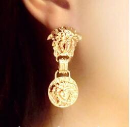 Medusa Metallic Face Retro Alternative Totem Lion Animal Personality Fashion Influx People Eye-catching Wild Domineering Earrings