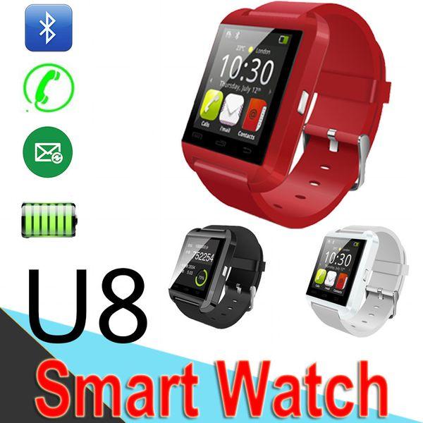 U8 bluetooth smart watch bilek saatler iphone samsung android telefon için dokunmatik ekran uyku monitör smart watch 50 paket paketi