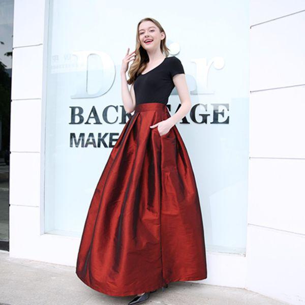 best selling New Bridesmaids Skirts with Pockets A-line Taffeta Prom Dresses Evening Wear Wedding Cheap Bridesmaids Dresses TU0010B