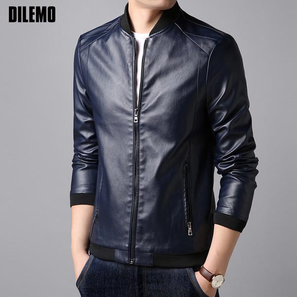2018 Autumn Winter New Fashion Brand Faux Leather Jacket Men Korean Coats Slim Fit Mandarin Collar Brown Motorcycle Men Clothes