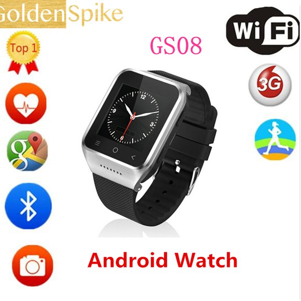 GS08 Smart Watch Android 4.4 Dual Core Wristwatch Mobile Phones Smartwatch Supports IOS GSM 3G WCDMA Bluetooth 4.0 Wifi Camera