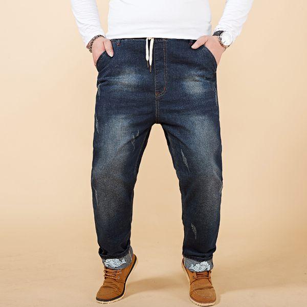 2018 Spring Large Big Size M-8XL Denim Harem Pants Jeans Men's Spring Stretch Elastic Waist Retro Ripped Dark Blue Long Jeans