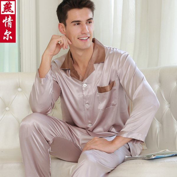Men's Long-sleeve Silk Pajamas V Collar Underwear Adult Ice Silk Leisure Pyjamas Male Sexy Sleepwear Plus Size 8 Colors D-2152