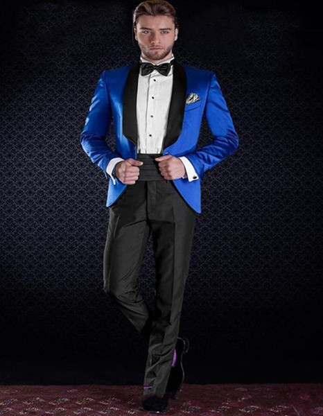 Slim Fit Royal Blue Groom Tuxedos Black Shawl Lapel Best Groomsmen Suit Custom Made Cheap Mens Wedding Suits (Jacket+Pants+Tie)