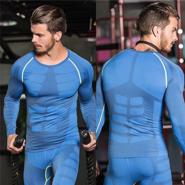 Compression Sport T-Shirt Männer Langarm Atmungsaktiv Schnell Trockenlauf Shirt Bodybuilding Top T Fitness Gewichtheben Kleidung