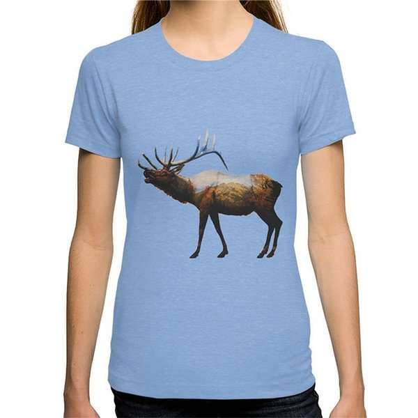 Mangas de Algodão Moda Camiseta Frete Grátis Das Mulheres O Rocky Mountain Elk Tripulação Pescoço de Algodão de Manga Curta Camisas