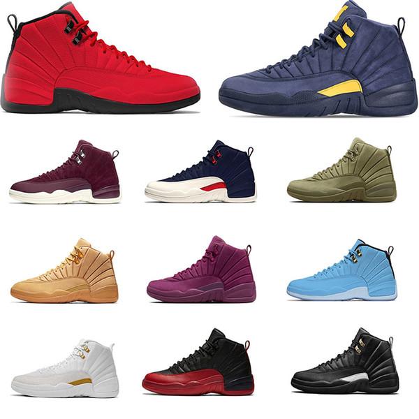 Zapatillas de baloncesto para hombre 12 Bulls NYC College navy Michigan UNC para zapatillas para hombre 12s zapatillas deportivas de deporte del tamaño 7-13