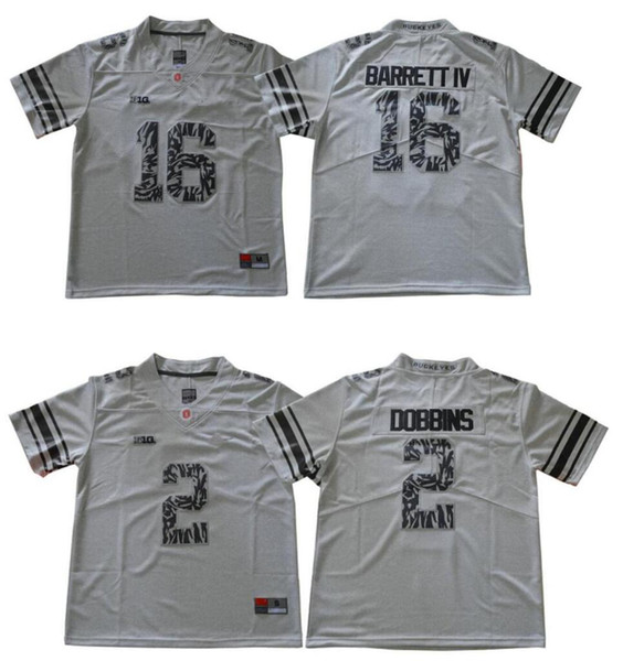 Ohio State Buckeyes #2 J. K. Dobbins 16 J.T. Barrett College team American Football Pro Sports Jerseys Shirts Uniforms Stitched Embroidery