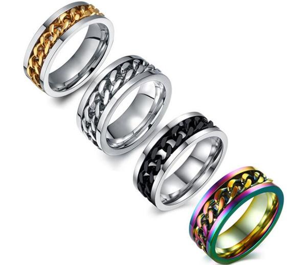Men's Titanium Steel Chain Rotary Ring