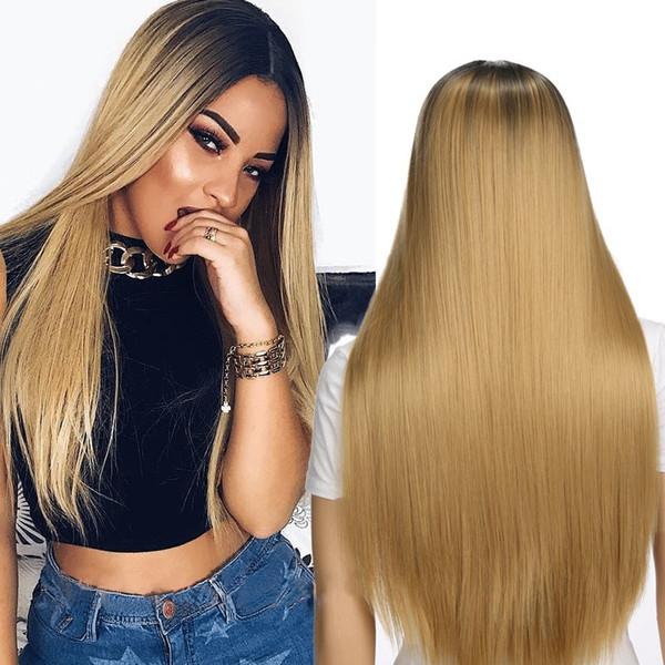 Kadın peruk Saç Sentetik Peruk Uzun Düz Vogue Peruk Kadınlar için Sarışın Peruk Isıya Dayanıklı Sentetik Peruk Kadınlar Için 26 inç 4 renkler