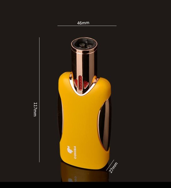 COHIBA Four torch Flame Cigar Lighter Windproof Refillable Butane Torch Gas Metal Lighter Original Jamaican Luxury Gift Box Packing