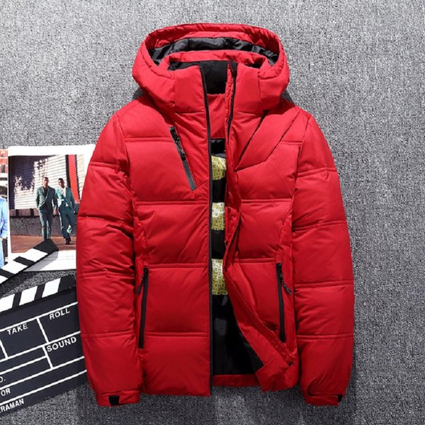 Fashion Brand top quality thicken winter white duck down jacket men light hooded clothing 4 color coat plus size 3XL down parka