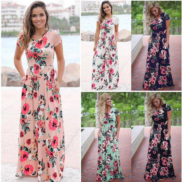 top popular Women Floral Print Short Sleeve Boho Dress Evening Gown Party Long Maxi Dress Summer Sundress 5 Styles OOA3238 2019