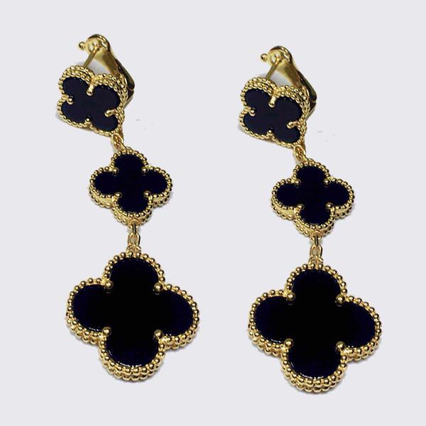 Wholsale vente chaude marque 925 argent trèfle à quatre bijoux pour les femmes 3 boucles d'oreilles trèfle shell blanc noir rouge vert multi couleurs