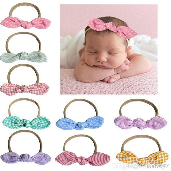 baby headbands Dot turbon knot bunny head bands nylon elastic hairbands children kids Hair accessories headwear party wear KHA198