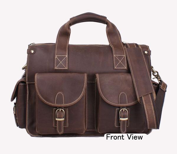 Men's Business Briefcase Genuine Leather Shoulder Bags Men Crossbody Messenger Bags Designer  Laptop Handbag 14 inch laptop