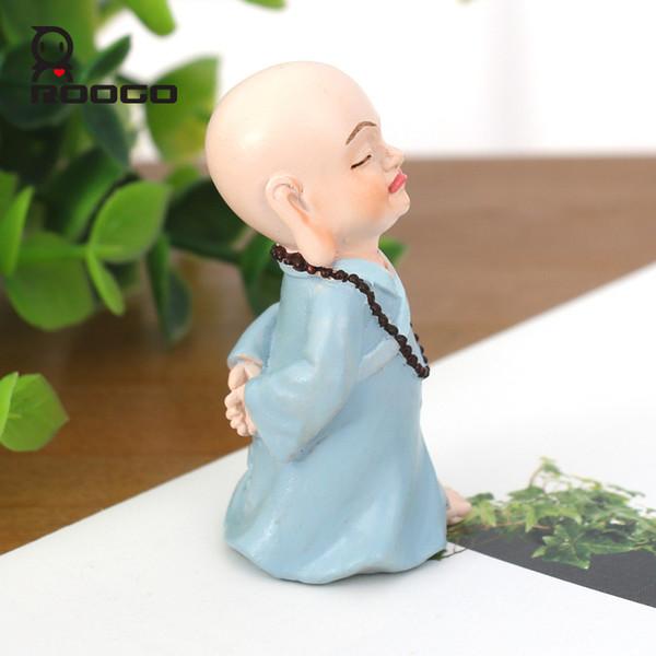 Roogo Drôle Moine Figurines 7pcs / Set Forme Chaude Miniature Figure Bureau Ornement Bureau Décor Bouddha Statue Zen Jardin
