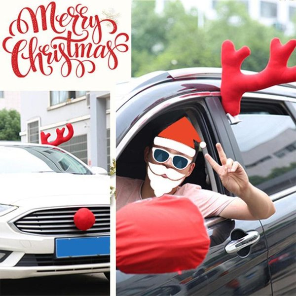 3pcs/Set Christmas Reindeer Antlers Car Costume Car Truck Costume Decor Antlers Red Nose Xmas Set Christmas Decorations for Home Y18102909