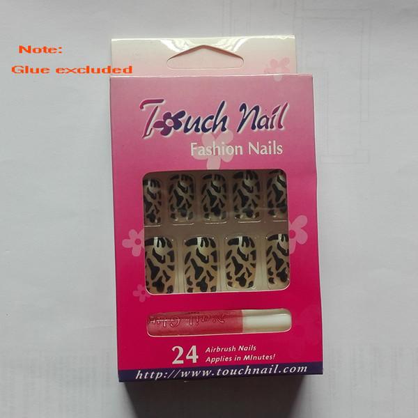 24pcs Finished Nail Tips Sale Leopard Pattern Short Full Cover False Tips Fake Nails Nail Art Artificial