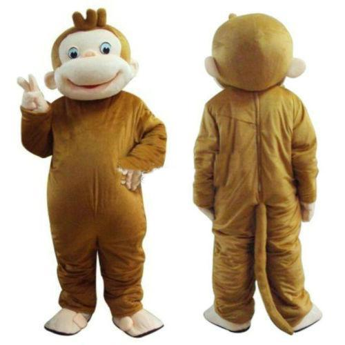2018 High quality hot Curious George Monkey Mascot Costume Fancy Birthday Party Dress Halloween Carnivals Costume