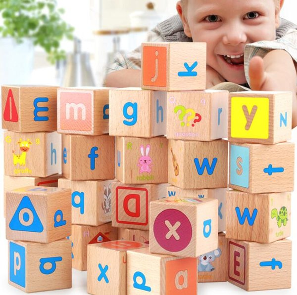 Deluxe Extra-Large Wooden ABC Blocks Stacking Game Kindergarten Preschool Educational Building Toys - 26Pcs Alphabet Letters - 4*4*4cm