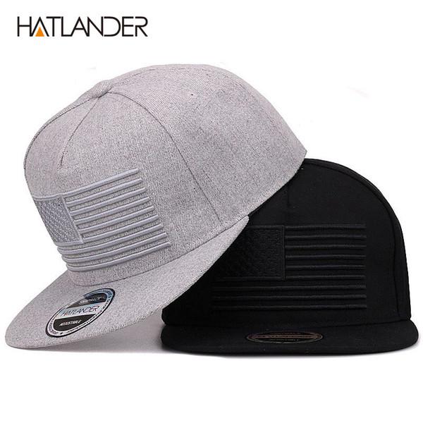 [Hatlander] angehobene Flaggen-Stickerei-kühle flache Bill-Baseballmütze Mens Gorras Hysteresen-3d Flaggen-Hut Ourdoor angesagte Hopfen-Hysteresen-Kappen