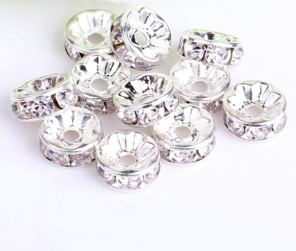200pcs / lotto l'argento bianco Perline rotonde Distanziatori Perle placcato strass di cristallo 6 millimetri 8mm 10mm 12 millimetri perline cristallo monili che fanno fai da te