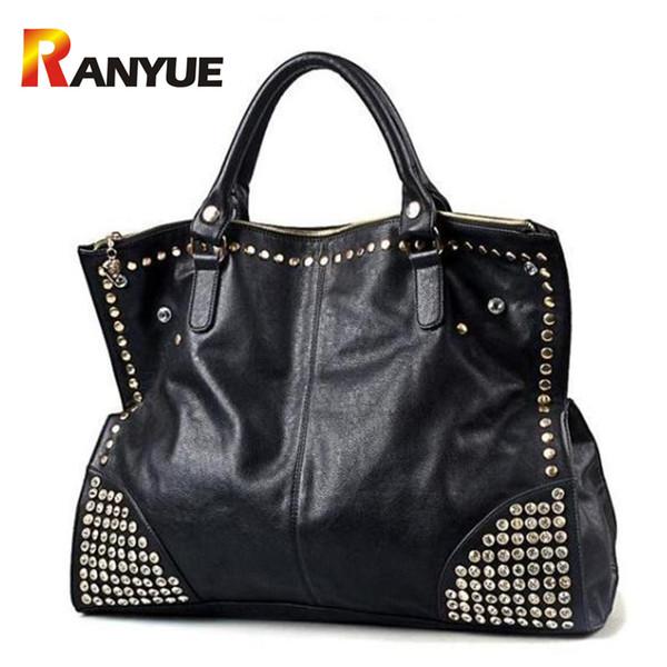Big Capacity Luxury Handbags Women Bags Designer Black Punk Rivet Bag Black Leather Women Crossbody Bags Famous Brand Sac A Main