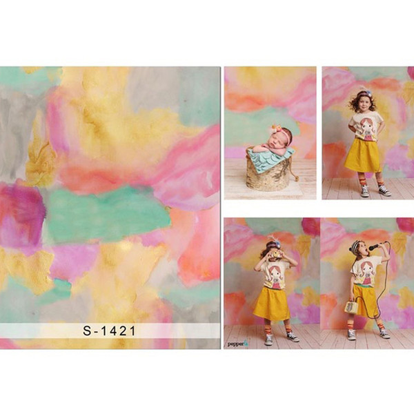 Green Pink Yellow Painted Photography Backdrops Baby Newborn Photoshoot Props Princess Children Girls Photo Studio Backgrounds