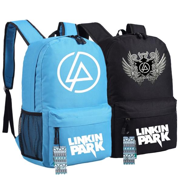 Alta Calidad 2017 Nueva Rock Style Linkin Park Impresión de Lona Unisex Mujeres Impresión Mochila de Moda Bolsas de Escuela para Adolescentes