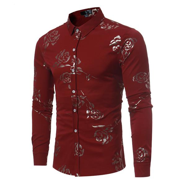 Chemise Casual pour hommes Rose Ptined Plus la taille Top Top à manches longues Col Bouton Bouton Blakc Shirt M-09