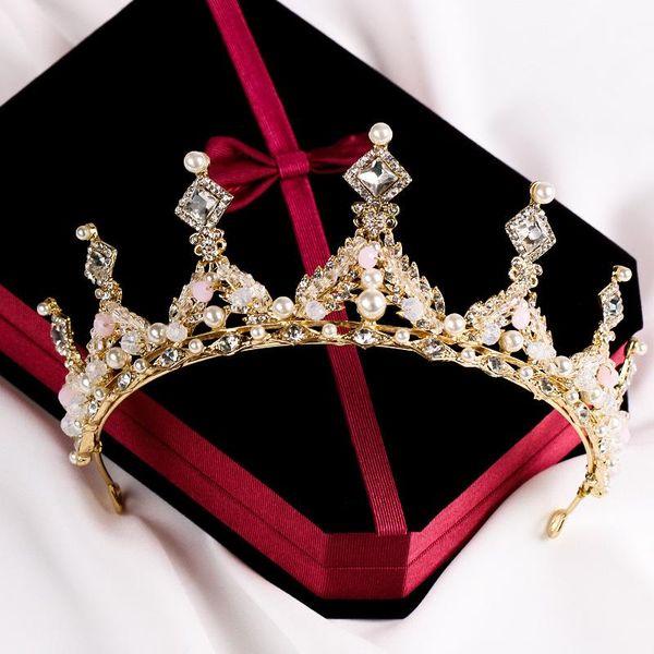 Bridal tiara crown hairband wholesale pearl studded bridal crown jewelry wedding accessories crown 2018 Korean style